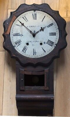 Antique Wall Clock, Drop Dial J. CROCKETT, PONTYPRIDD.