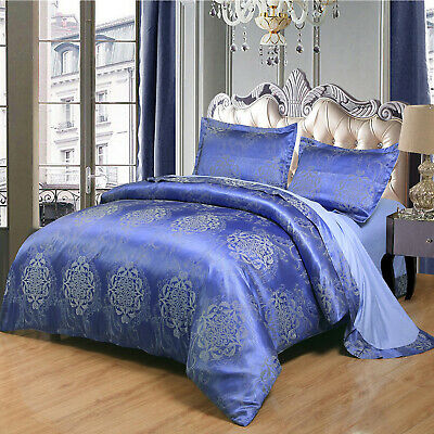 Luxury Satin Jacquard King Duvet Cover Sets With Pillow Cases & Flat Sheet Blue