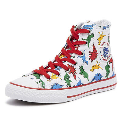 12f99ab01d Converse All Star Chuck Taylor Junior Dinosaur Hi Trainers Kids Casual Shoes
