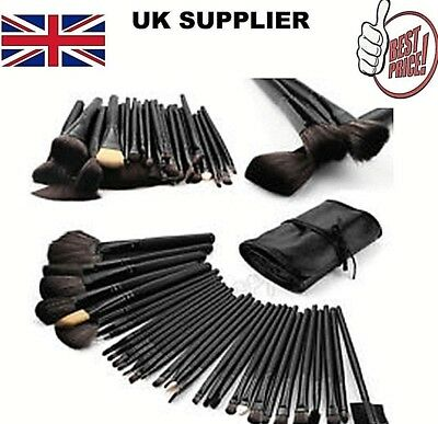 Black 32 Pcs Makeup Brushes Kit Cosmetic Make Up Set Roll ⭐FREE Pouch Bag Case