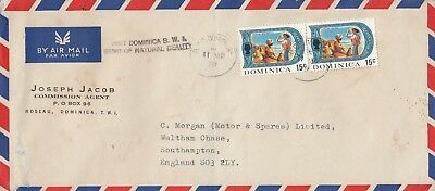 W 3299 Dominica March  1970 air cover UK, tourist added mark slogan, 30c rate