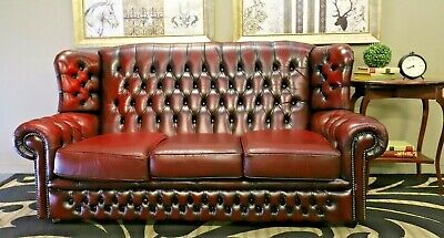 Gorgeous 3 Seat Chesterfield Genuine Leather Aust Made Sofa Lounge Couch Suite