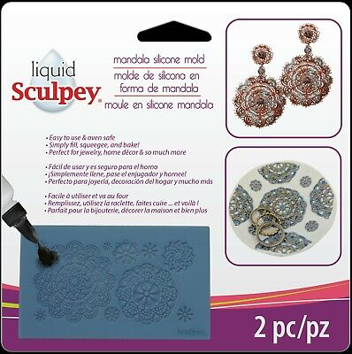 SCULPEY - Liquid Clay Mold - MANDALA SHAPES - SILICONE MOULD + Squeegee