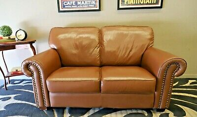 Stunning 2 Seat Cigar Tan Brown Chesterfield Sofa Lounge Couch Suite