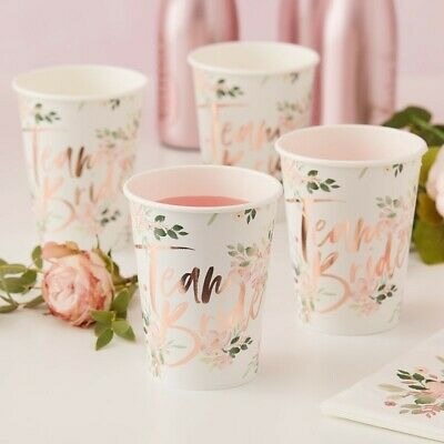 Floral Team BRIDE CUPS / GOLD STRAWS - Hen Party Tableware