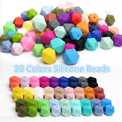 Bracelet Hexagon  BPA-Free Silicone Baby Teether Chew Beads Mom DIY Necklace