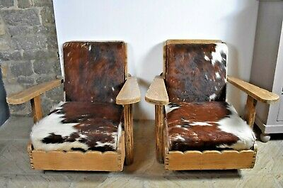 2x ~ Vintage ~ Mid Century ~ Real Cow Hide ~ Pine ~ Cabin Arm Chairs ~ STAMFORD