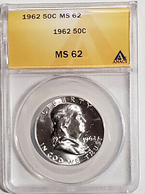 Lot#FG9- 1962 Franklin Half Dollar Certified ANACS MS-62 - Brilliant !
