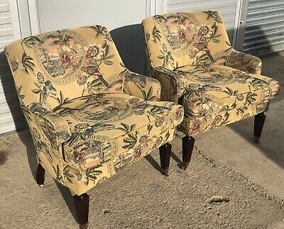 Matching Pair of Edwardian Mahogany Tapestry Tub Chairs - Excellent Condition