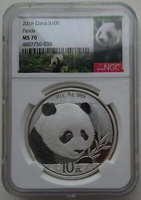 NGC MS70 China 2018 Panda Silver Coin 30g 10 Yuan Green Panda Lab Spot