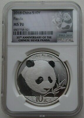 NGC MS70 China 2018 Panda Silver Coin 30g 10 Yuan Spot
