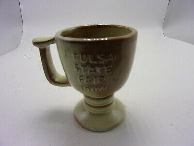 "Vintage 1984 Frankoma Tulsa State Fair ""Golden Age Couples"" Tan/Brown Cup/Mug"