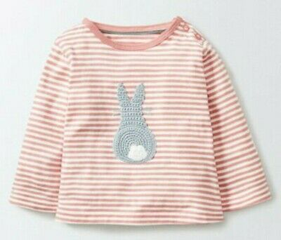 Ex Baby Boden Girls Pink Stripe Crochet Bunny Long Sleeve Top 0 3 6 12 18 24 Mth