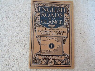 ENGLISH ROADS AT A GLANCE, GEORGE PHILIP AND SON Ltd BOOKLET Number 1