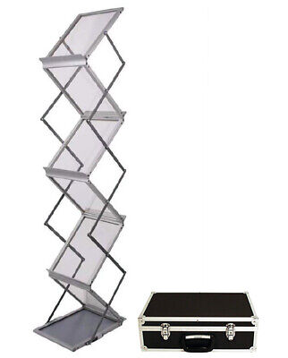 Zed-Up A4 Literature Folding Portable Stand With Flight Case Exhibition / Trade