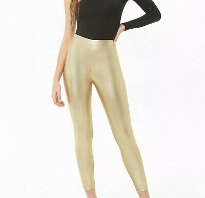 Forever 21 Lame Footless Leggings GOLD Metallic Sexy Shiny Stretchy Pants L NEW