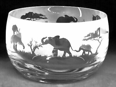 ELEPHANT FRIEZE Small Crystal Glass Bowl - Boxed