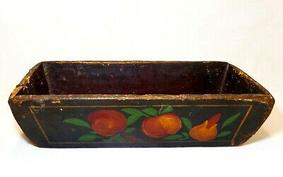 Mid-Late 19Th Cent American Antique Hand Painted Primitive Wooden Flower Planter