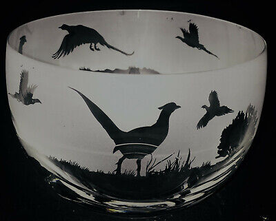 PHEASANT FRIEZE Small Crystal Glass Bowl - Boxed