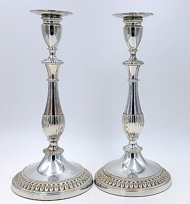 Art Deco Silver plated pair of Candlestick Viners of Sheffield Alpha 1930 s