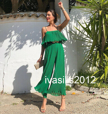 15ed9f9e032 Zara New Woman Pleated Jumpsuit With Straps Ruffle Green Xs-Xl Ref.4786