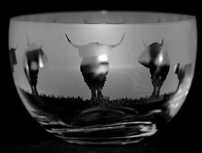 HIGHLAND CATTLE FRIEZE Small Crystal Glass Bowl - Boxed