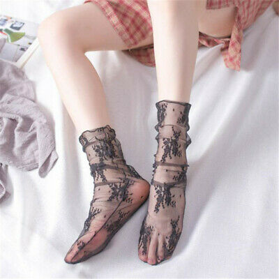Sexy Transparent Lace Mesh Floral Print Socks Women's Embroidery Thin Socks N7