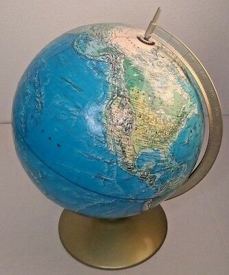 Vintage Rand McNally World Portrait Earth Globe With Metal Base Made in USA