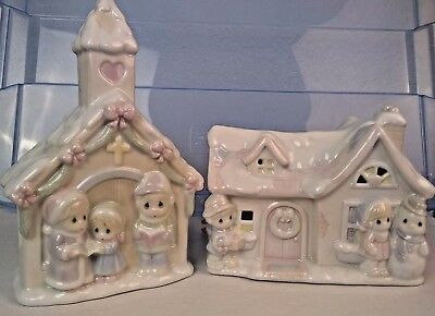 Precious Moments Enesco Lighted Sugar Town Church and Cottage