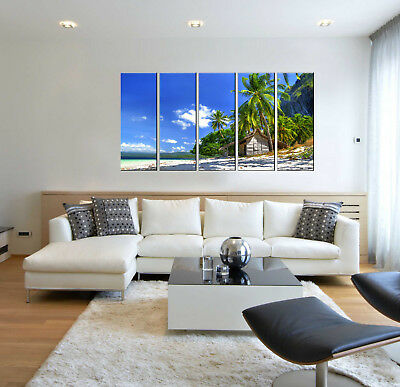 Tropical beach print on canvas, 5 panel canvas art prints, ocean wall art decor