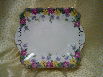 Vintage Plant Tuscan English China Cake /Sandwich  Plate with Floral Decoration