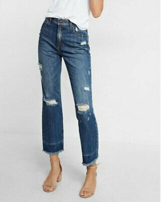 9a4fc3d6cae77b NEW EXPRESS HIGH Waisted Distressed Straight Ankle Jeans 2 - $36.99 ...