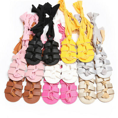 Newborn Infant Baby Girl Leather Bandage Sandals Summer Pram Soft Flat Shoes Hot
