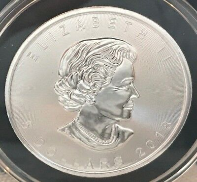 2018 1 oz Canadian Silver Maple Leaf $5 Coin 9999 Fine Silver in airtite