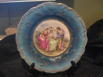 ES / RS Prussia Prov Saxe Beehive Courting Scene Blue & Gold Lunch Plate c.1920