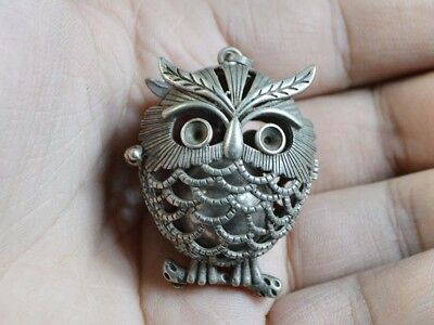 Vintage China Statue/Pendant Old Silver Copper Casting Figure Of Owl Bell 19.Jhd