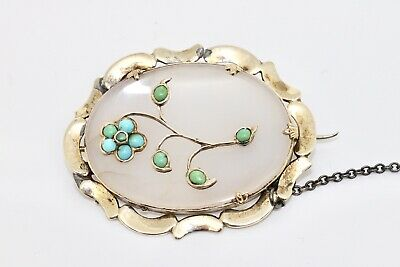 A Beautiful Antique Victorian Gold Plated Turquoise Agate Forget Me Not Brooch