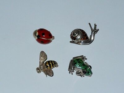 Bee , Frog , Lady Bug and Snail Enamel Sterling Silver Italy Signed Pins