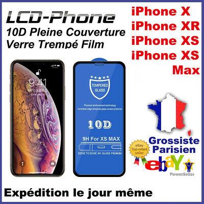 iPhone X XS XS Max XR 10D Vitre trempé Film Protection d'écran Glass Tempered