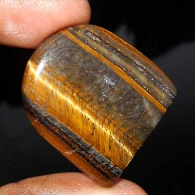 49 Cts Natural Yellow Tiger Eye Flawless Gemstone Loose Cabochon S-30X27X6 Mm.