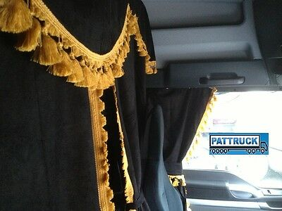 Truck Curtains Set Black With Gold Tassels Fit Scania Topline