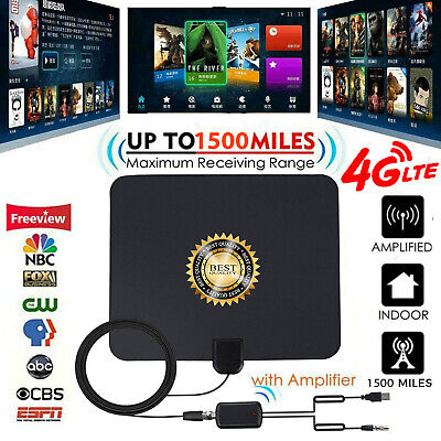 80 Mile HDTV Indoor Antenna Aerial HD Digital TV Signal Amplified Booster &Cable