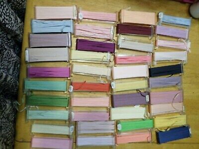 Lot 40 YLI Silk Ribbon - embroidery - 4mm - various colors and lengths