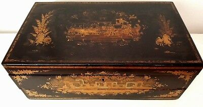 19th Century Chinese Export Lacquer Writing Slope With Secret Drawers