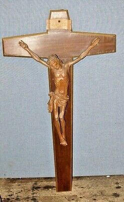 "Exceptional Vintage French Large Crucifix Hand Carved Christ 48"" , 120Cms Tall"