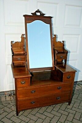 ANTIQUE DRESSING TABLE, Victorian / Edwardian, mahogany,  with drawers & mirror.