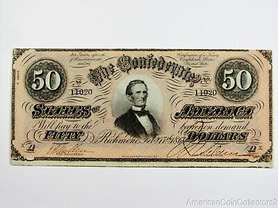 1864 $50 Dollar CONFEDERATE CURRENCY Banknote NOTE CIVIL WAR LARGE BILL | 13575