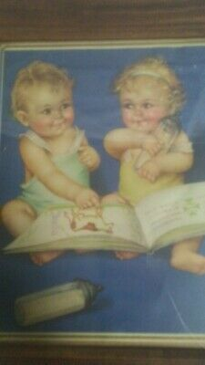 Vintage Charlotte Becker lithograph Print - twin babies with farm/cow book