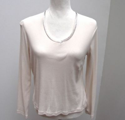 Talbots Petites Beige 100% Cotton Knit Women's Top with Rhinestones Size PM