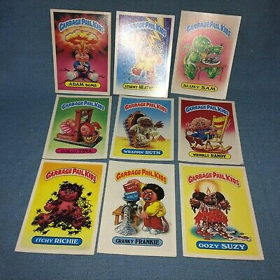"""9 Vintage 1986 Garbage Pail Kids Large 5"""" x 7"""" Stickers~Topps Gum Collectible"""